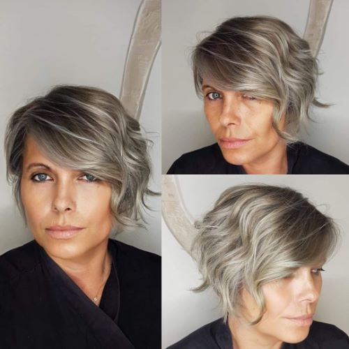Blonde and Silver Gray Pixie