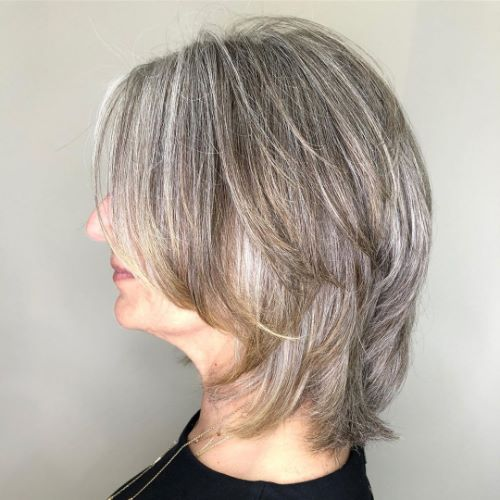 Medium Haircut with Layers for Gray Hair