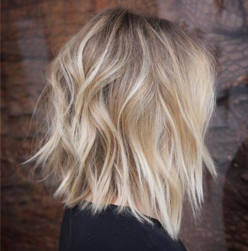 Blonde Messy Lob
