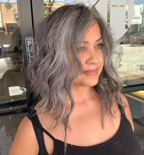 Cute Medium Gray Haircut with Waves